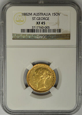 1882 M Australia Gold Sovereign, NGC XF 45. Queen Victoria, Young Head Melbourne