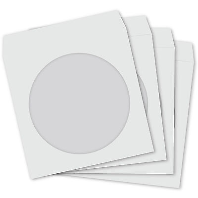 800 CD Paper Sleeves White with Window and Flap - 800 pack Cover Case 100GSM
