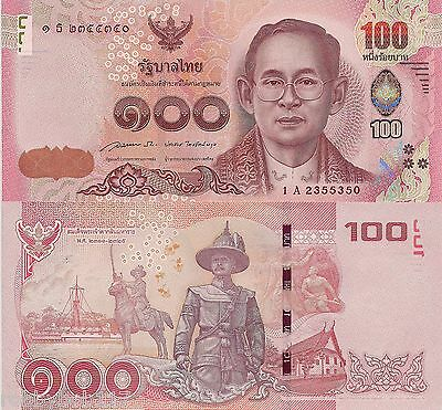 THAILAND 100 Baht Banknote World Paper Money Currency Pick New-2015 King Rama XI