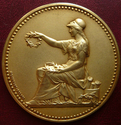 SILVER / French gold pl. solid Silver Vermeil medal by MONNEHAY & GODARD