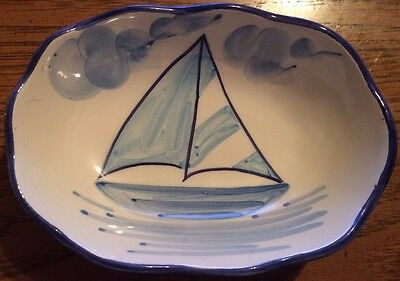 HAND PAINTED**** MADE IN PORTUGAL**** SOAPDISH ****SAILBOAT