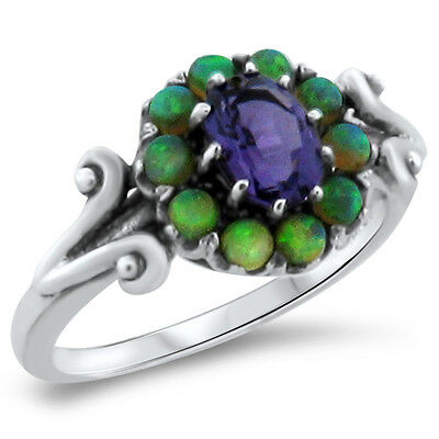 Purple Lab Amethyst Opal Victorian Antique Design .925 Sterling Silver Ring,#281