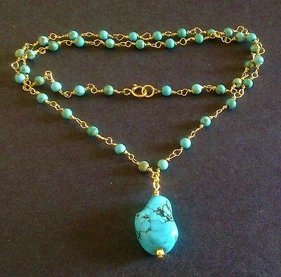Vibrant genuine turquoise gold nugget necklace layer delicate Victorian style