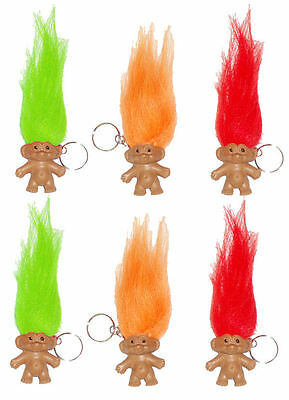 6 Troll Keyrings - Pinata Toy Loot/Party Bag Fillers Key Chain Kids