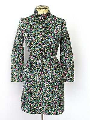 Vtg 60s Mod Pink Green Floral Quilted Cotton Peplum Jacket Skirt 2-Pc Suit XS