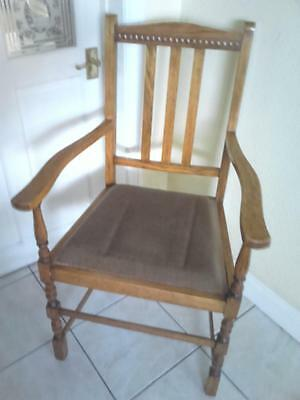 Vintage solid Oak wood wooden wide chair drop-in upholstered seat hall parlour
