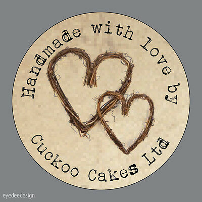 Personalised Handmade With Love Shabby Kraft Hearts Favours Labels Stickers- 488