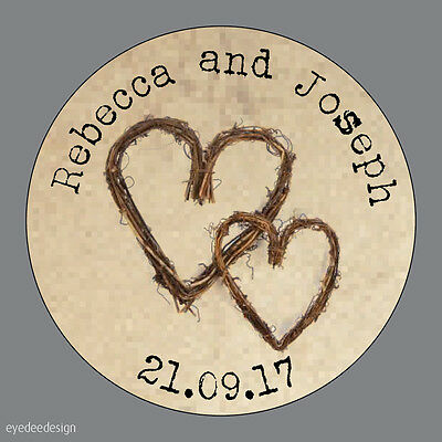 35 Personalised Wedding Shabby Chic Kraft Effect Heart Labels Stickers Seals 489