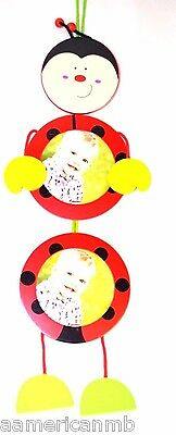Baby Boys Girls Wooden Fun Photo Frame Ladybug Red Black Hang On Wall Picture