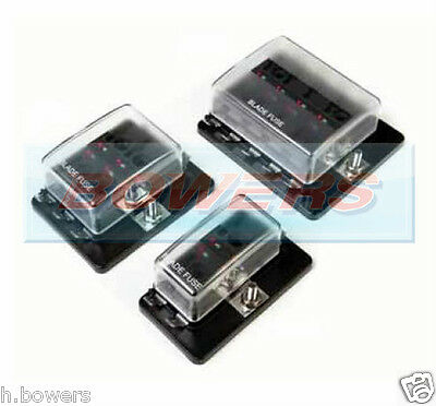 4/6/10 Way 1 Positive Bus In Led Warning Fuse Box Holder 12V/24V Standard Blade