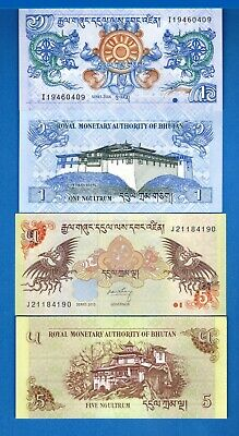 Bhutan P-27& 28 One & 5 Ngultrum Year 2006-2015 Uncirculated Banknotes Set # 5