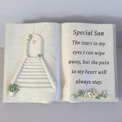 New SPECIAL SON Memorial Stone Garden Grave Book Ornament STAIRWAY TO HEAVEN