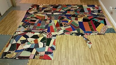 "GORGEOUS Vintage Multi-Material Crazy Quilt Topper - approx 94"" x 92"""