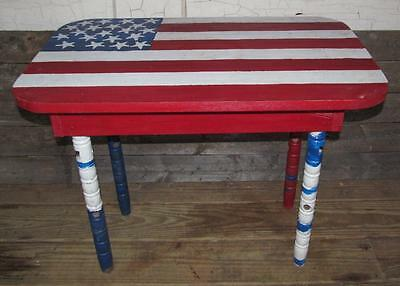Vintage Wooden Patriotic Red White Blue Side Hallway Patio Porch Table