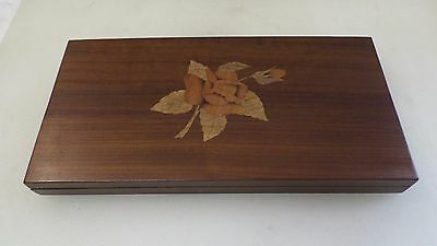 Vintage Wooden Hand Crafted Cigar Cigarette Box With Inlaid Wood Detail A2496