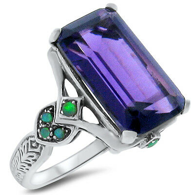 4.5 Ct Lab Amethyst Opal Antique Victorian Design .925 Sterling Silver Ring,#290