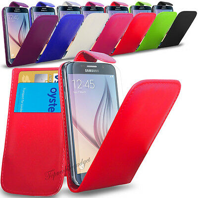 Samsung Galaxy S6 - Leather Flip Case Cover & Screen Protector