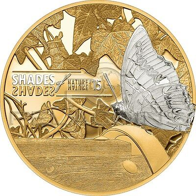 Cook Islands 2015 5$ Shades of Nature - Butterfly Gold plated Silver Coin