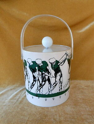 Ice Bucket. Cera. Golfer. Golf Ball Lid Pull. Lucite Handle. Retro Beauty!