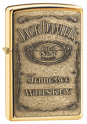 Zippo High Polished Brass Lighter With Jack Daniels Emblem, 254BJD.428, NIB