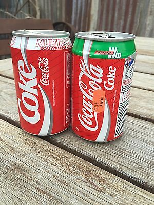 2 Collectable 330Ml Coca Cola Cans Coke Cans. Empty