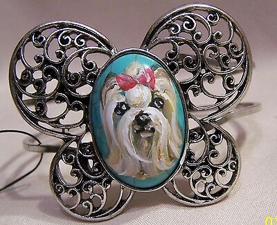 hand painted Yorkie painting on natural turquoise stone silver   bracelet