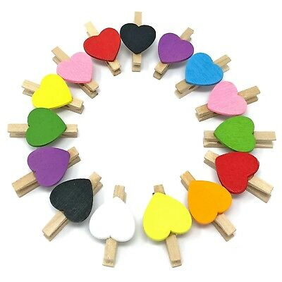 Mini Heart Shape Wooden Clothes Peg Craft For Shabby Chic Vintage Wedding 15mm