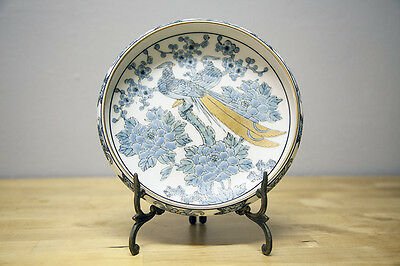 BLUE Japanese HAND PAINTED Gold Imari Peacock Shallow Bowl