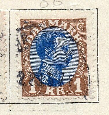 Denmark 1921 Early Issue Fine Used 1kr. 138190