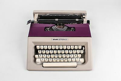 VIOLET AND GREY OLIVETTI LETTERA 25 - Portable working typewriter