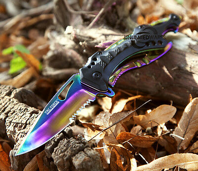 "8"" TAC FORCE RAINBOW SPRING ASSISTED FOLDING KNIFE Assist Blade Pocket Switch"