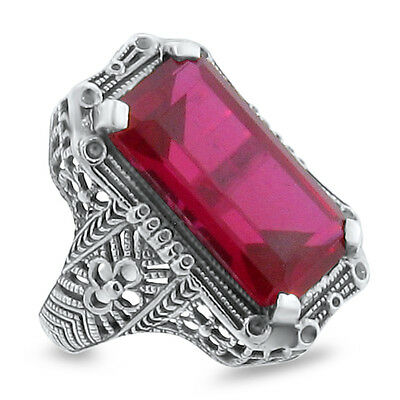 10 Ct LAB RUBY ANTIQUE ART DECO DESIGN .925 STERLING SILVER RING, #145