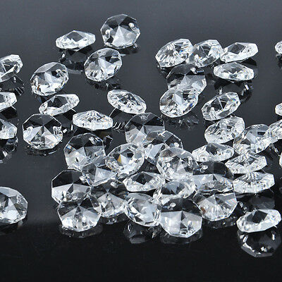 50 Pcs 2 Hole Clear Octagon Crystal Glass Beads Chandelier Chain Part Lighting