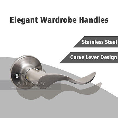 2 x Curve Dummy Lever Door Handle Stainless Steel Satin Chrome Brushed