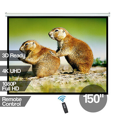"""150"""" Electronic Projector Screen Home Theatre UHD Ultra Full HD 3D Ready 4:3"""