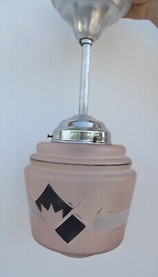 French Art Deco Frosted Pink Geometric Ceiling Lamp