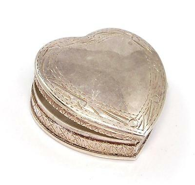 Vintage Etched Sterling Silver Heart Pill Makeup Box Keeper