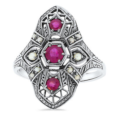 Genuine Ruby & Seed Pearl Art Deco Antique Style .925 Silver Filigree Ring , #23