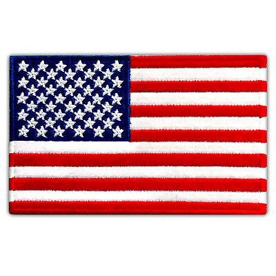 """VEGASBEE® AMERICAN BEST USA FLAG US EMBROIDERED PATCH VELCRO® 4"""" x 2.5"""" SIZE M"""
