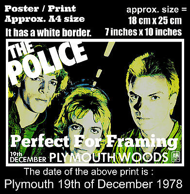 The Police live concert Plymouth Woods 19th December 1978 A4 size poster print
