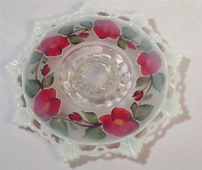 Opal Hand Painted Cake Cookie Pastry Plate on Pedestal