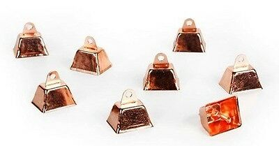 "12 Copper Plated COW BELLS Crafts Chimes Pet Collar or Toy 1-1/4"" H Rectangular"