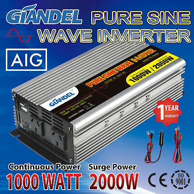 Pure Sine Wave Power Inverter 1000W(2000W Max) 12V-240VAC Car Plug Cable And USB