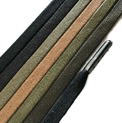 7mm FLAT Waxed Cotton METAL TIPPED Shoelaces - Any Length - Lace shoe boot
