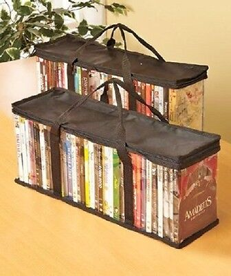 Brand New DVD Storage Organizer - Classic Set Of 2 Storage Bags 40 DVD EAch