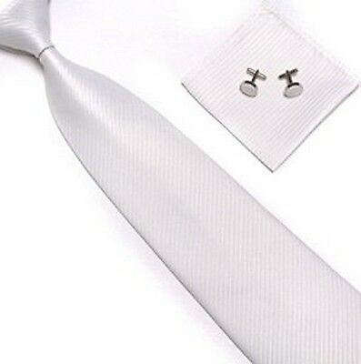 Unisex Men's White Stripes Necktie, Matching Handkerchief, & Cliff links-New