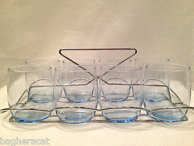 Retro Mid-Century Hostess Set: Ice Blue Glasses with Chrome Caddy