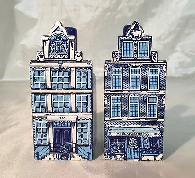 Beautiful Delft Blue & White Canal Shop Building Wood Salt & Pepper Shakers NEW