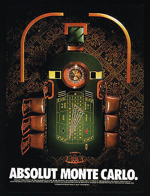 1996 Absolut Vodka Monte Carlo Roulette Table Gambling Vintage Print Ad