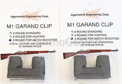 2ea 2 Round Garand Clips for M1 National Match NEW US Made Enbloc 2rd Clip